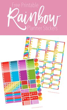 Free Printable Rainbow Planner Stickers