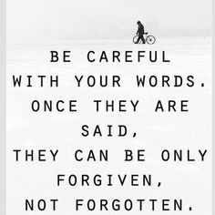 So fucking true.  Words said during frustration or anger can do serious damage that can never be undone. And they are really never forgotten.  They'll haunt a person's mind forever.