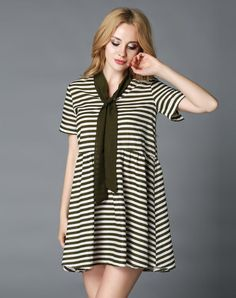 VIPme (VIPSHOP Global) - GUSTAVO ARANGO Army Green Sweet Strappy A-Line Stripes Turtleneck Dress - AdoreWe.com