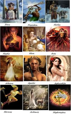 Greek Gods - great illustrations. I didn't use this as inspiration for various gods, but it us lovely art.