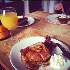 Home made French toast with mimosa- amazing way to start the weekend