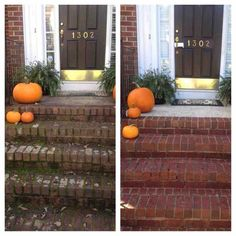 Before and after power washing these stairs