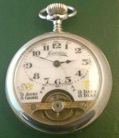 Vintage LOUISINE POCKET WATCH  8 DAYS  (HEBDOMAS ),runs #LOUISINE