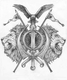 This is a sikh religous symbol called the 'Khanda', with two lions on each side and an eagle on top with two flags. A sikh customer wanted me to design the ultimate 'Khanda Tattoo'. But just a word. Trendy Tattoos, Tattoos For Guys, Cool Tattoos, Mens Tattoos, Awesome Tattoos, Doodles Zentangles, Tattoo Sleeve Designs, Sleeve Tattoos, Forarm Tattoos