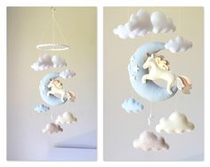 Baby mobile  - unicorn mobile - baby mobile unicorn - moon mobile - moon clouds mobile - baby mobile clouds by lovefeltmobiles on Etsy https://www.etsy.com/listing/470307561/baby-mobile-unicorn-mobile-baby-mobile