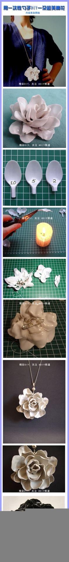 diy rose from plastic spoons!