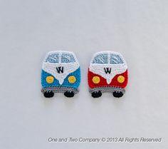 VW Camper Van apliques PDF ganchillo patrón por oneandtwocompany