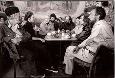 cafe trieste, san francisco, 1975. lawrence ferlinghetti, minelte le blanc, peter le blanc, howard schrager, allen ginsberg, harold norse, jack hirschman & bob kaufman by diana church.