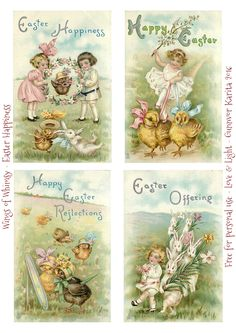 Wings of Whimsy: Easter Happiness Easter Postcards
