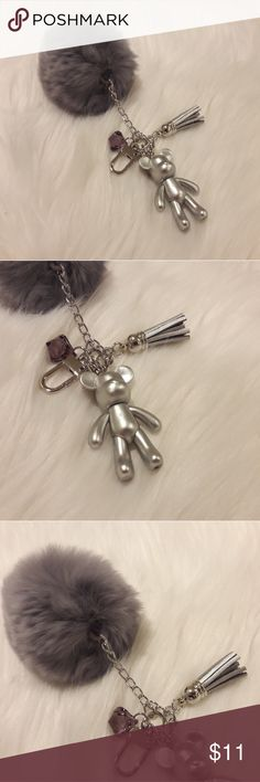 Pom Pom keychains with bear charms (small size) Very soft rabbit fur Charm with cute bear brick. High quality and well made keychains. Good for bag charms. Nice gift for any ages. Check on my list. Popobe Accessories Key & Card Holders