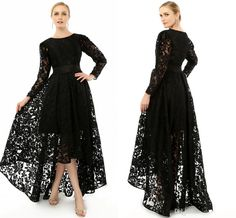 2015 Elegant Black Long Sleeve Plus Size Special Occasion Dresses Formal Lace Hi Lo Party cocktail Gown