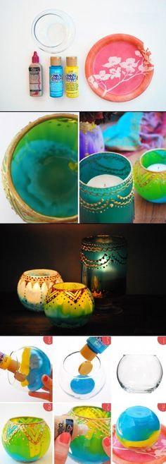 DIY Moroccan Style Candle Holders- hey friends check these out, they remind me a lot of you Diy Projects To Try, Crafts To Make, Home Crafts, Fun Crafts, Craft Projects, Arts And Crafts, Crafty Craft, Crafting, Diy Candles
