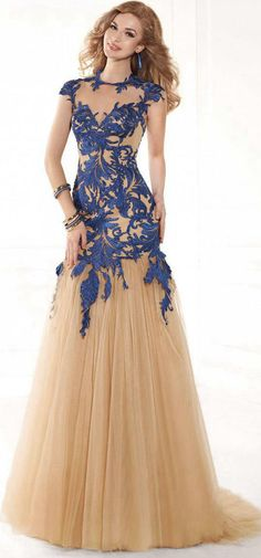 87294f8f330  154.69-Eelgant Appliqued High Neck Tulle Mermaid Prom Dress with Cap  Sleeves. http