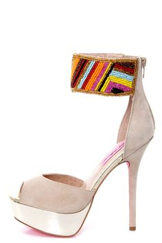 Betsey Johnson Ireen Nude Multi Beaded Ankle Cuff Platform Heels - obsession session!!!!