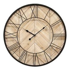 Give any interior a timely update with the Stratton Home Decor Sam Wall Clock. Handcrafted of metal and wood, the Sam Wall Clock is bold yet refined and adds functional beauty to any room. It measures diameter overall and features a thin black Metal Walls, Wood And Metal, Black Metal, Metal Art, Tabletop Clocks, Wall Clock Online, How To Clean Metal, Decoration, Frames On Wall