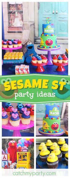 Check out this fun Sesame Street birthday party! The party decorations are fantastic!! See more party ideas and share yours at CatchMyParty.com #sesamestreet #elmo #cookiemonster