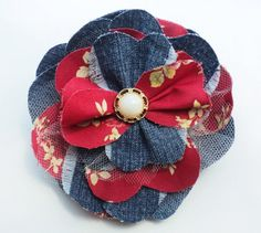 Large Denim Fabric Brooch repurposed dark by FredGingerAtelier, $15.00