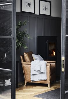 Walls painted in Smoke by Neptune Caspar tan leather armchair. Walls painted in Smoke by Neptune My Living Room, Living Room Chairs, Home And Living, Living Room Decor, Farrow And Ball Living Room, Dark Walls Living Room, Dining Chairs, Corporate Office Design, Tan Leather Armchair