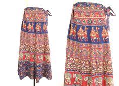 70s Indian Wrap Skirt -- Vintage Indian Maxi Skirt -- Long Boho Skirt -- Block Print Cotton Skirt -- Elephant Floral Print - Womens S-M-L-XL by ImprovGoods on Etsy