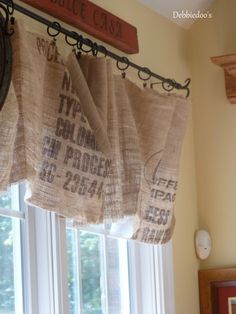 no sew burlap kitchen valances.made from Coffee bags! - Debbiedoo's burlap no sew window valances - love how the light penetrates through these! By Debbiedoo'sburlap no sew window valances - love how the light penetrates through these! By Debbiedoo's Burlap Valance, Diy Curtains, Window Curtains, Window Valences, Unique Curtains, French Curtains, Brown Curtains, Luxury Curtains, Yellow Curtains