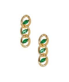 Accent+an+ensemble+with+a+standout+staple.+These+earrings+feature+a+trendy+chain+link+design+finished+with+oval-shape+green+stones.