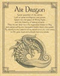"Beseeching the Air Dragon as a guardian, and wise spirit of the winds, the Air Dragon poster displays a lovely prayer to the Air Dragon to aid you in finding grace and ferocity. Size: 8 1/2"" x 11"""