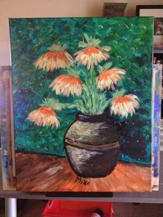 Van Gogh flower vase.  Art Social.   Acrylic on canvas (16x20) Interesting story on this one.  The light in the place where it was painted made it look very very blue and dark but the daylight (this picture) completely changed it.