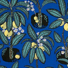 "Textile Notturno 315 Linen: Notturno was originally called ""Moonlight"" with its high pepper bushes and palm trees against the backdrop of a deep blue tropical night sky. The detailed drawings of peppercorns resemble large citrus fruits glowing in the moonlight. The design was created by Josef Frank in 1943-1945."