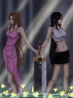 Aerith Gainsborough and Tifa Lockhart. Fan art. Final Fantasy VII.