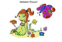 """*ஐStickdatei ღWürmchen Franzie mit Schmetterlingஐ*    Franzie ist aus dem Kinderbuch """"Würmchen & seine Freunde"""". Der Schmetterling ist Lingarda.   Abe"""