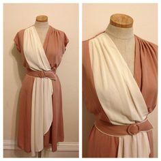 Vintage 70s color block dress on Etsy, $38.00