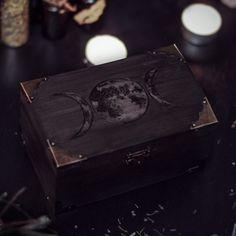 Triple Moon Wiccan Wooden Box