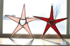 Heart Star 6 inch stained glass star in red or pink. $15.00, via Etsy.