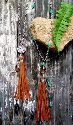 Tassel necklace instructions - made from suede strips, beads, wire etc.