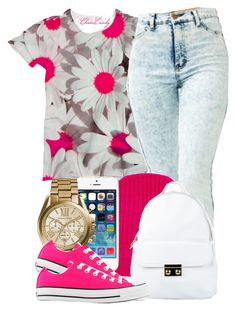 """pink."" by yeauxbriana ❤ liked on Polyvore featuring Orwell + Austen, NLY Accessories, Michael Kors and Converse"