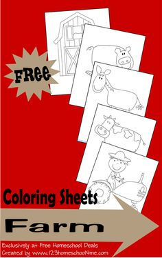 Farm Coloring Sheets (free; from 123 Homeschool 4 Me)