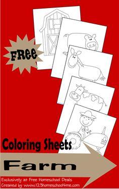 Homeschool Download: Free Farm Coloring  #homeschool #preschool