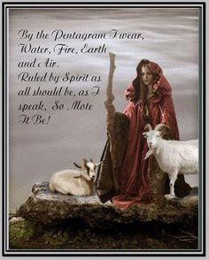 /by the Pentagram I wear,  Water, Fire, Earth, Air,  Rule by Spirit as all should be, as I speak, So... Mote it be!