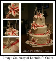 love this beach wedding cake....make the outline either coral or turquoise...and same with the inside of the flowers.....opposite of the outline