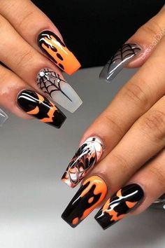 Halloween Acrylic Nails, Cute Halloween Nails, Halloween Nail Designs, Fall Nail Designs, Cute Acrylic Nails, Holloween Nails, Dope Nail Designs, Spirit Halloween, Halloween Decorations