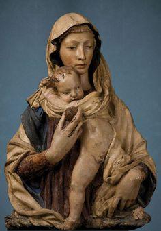 Donatello o Luca della Robbia  -  Madonna della Mela, 1400-1425 circa, terracotta, 90×64 cm.  Museo Bardini, Firenze
