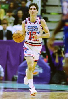 Jazz guard John Stockton dribbles upcourt during the 1993 NBA All-Star Game in Salt Lake City. (Steve Griffin  |  The Salt Lake Tribune)