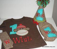 Sock Monkey Birthday Set Birthday Tshirt, Birthday Hat,  Diaper Cover and Tie. $90.00, via Etsy.