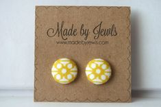 Fabric Covered Button Earrings  Saffron  Buy 3 get by jewlswashere