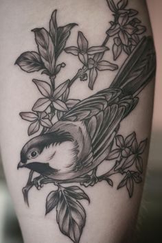 // I got to do these fun little black and grey tattoos on Hannah and Chaucee today. Thanks, ladies! These were so fun! Chickadee + forsythia branch and a sprig of rosemary. (Kirsten Holliday, Wonderland Tattoos, PDX)