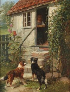 Design your own photo charms compatible with your pandora bracelets. A charming antique oil on canvas painting by James Cole (fl. It depicts a couple of Collies waiting impatiently at the entrance to a cottage for the owner to feed them. Rough Collie, Collie Dog, Horses And Dogs, Dogs And Puppies, Border Collie Art, Scotch Collie, English Shepherd, Herding Dogs, Cottage Art