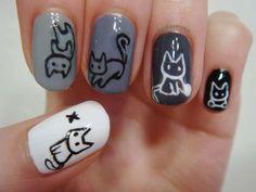 Extraordinary cat design nails :: one1lady.com :: #nail #nails #nailart #manicure