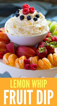 LEMON WHIP FRUIT DIP is the perfect summer recipe for picnics, potlucks and backyard gatherings. Make this easy recipe right now! Dessert Dips, Low Carb Dessert, Summer Dessert Recipes, Easy Desserts, Summer Appetizer Recipes, Lemon Recipes, Fruit Recipes, Dip Recipes, Healthy Recipes