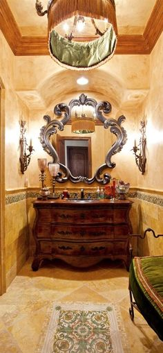 tuscan style ◆SUCH a beautiful bathroom! Lovely wall treatment and tile-work... gorgeous vanity! ...yes! I REALLY like the vanity!!!)!◆