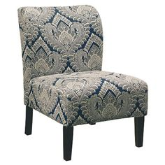 Lend a touch of elegance to your living room or parlor with this lovely side chair, featuring an intricate scrolling motif and sapphire-hued upholstery.